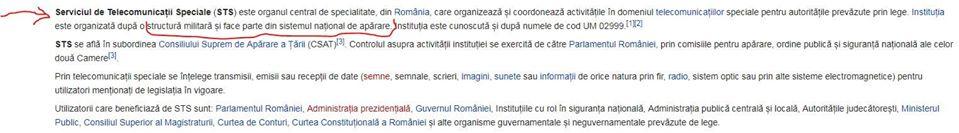 6. STS nu a solicitat Wikipedia să nu fie prezentat ca UM
